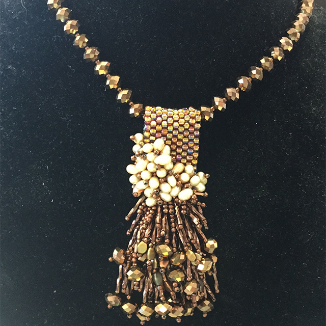 Beaded Pendant Necklace Design by Student | Class by Theresa Hanada